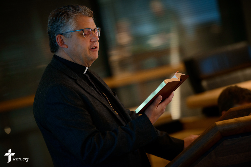 The Rev. Dr. James A. Baneck, executive director of LCMS Pastoral Ministry, leads a devotion during an LCMS Board of Directors meeting on Friday, Aug. 25, 2017, at the International Center of The Lutheran Church–Missouri Synod in St. Louis. LCMS Communications/Erik M. Lunsford