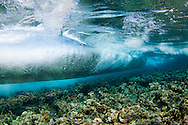 Surf crashes on the reef in Tubbataha National Park, Philippines.