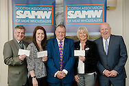 Scottish Association of Meat Wholesalers presentation of cheques to 3 charities at Parklands Hotel, Perth, 28th September, 2016. L-R: Bill Fenwick, Georgina Hood, Allan Jess (President), Gayle Stephen & Ian Anderson (Executive Manager)