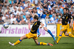 David Clarkson (SCO) of Bristol Rovers hits a shot past Martin Riley (ENG) of Mansfield Town - Photo mandatory by-line: Rogan Thomson/JMP - 07966 386802 - 03/05/2014 - SPORT - FOOTBALL - Memorial Stadium, Bristol - Bristol Rovers v Mansfield Town - Sky Bet League Two. (Note: Mansfield are wearing a Rovers spare kit having forgotten their own).