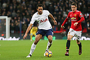 Mousa Dembele of Tottenham Hotspur battles with Manchester United Midfielder Ander Herrera during the Premier League match between Tottenham Hotspur and Manchester United at Wembley Stadium, London, England on 31 January 2018. Photo by Phil Duncan.