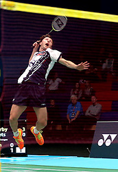 Alex Lane of Bristol Jets plays a smash shot from the back of the court - Photo mandatory by-line: Robbie Stephenson/JMP - 07/11/2016 - BADMINTON - University of Derby - Derby, England - Team Derby v Bristol Jets - AJ Bell National Badminton League