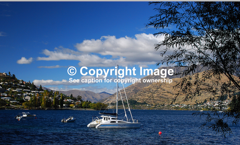 Lake Wakatipu from Queenstown, South Island, New Zealand, 201004063739..Copyright Image from Victor Patterson, 54 Dorchester Park, Belfast, UK, BT9 6RJ..Tel: +44 28 9066 1296.Mob: +44 7802 353836.Voicemail +44 20 8816 7153.Skype: victorpattersonbelfast.Email: victorpatterson@mac.com.Email: victorpatterson@ireland.com (back-up)..IMPORTANT: If you wish to use this image or any other of my images please go to www.victorpatterson.com and click on the Terms & Conditions. Then contact me by email or phone with the reference number(s) of the image(s) concerned.