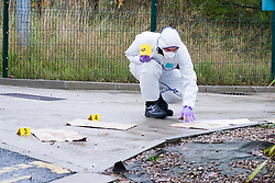 South Yorkshire Police CSI marks and preseves evidence at the Argos Goods entrance at the Halifax Rd crime scene, stretching from Kilner way to Southey Green Rd. Locals information say the crime was a stabbing.<br /> <br /> 29 October 2015<br />  Image © Paul David Drabble <br />  www.pauldaviddrabble.co.uk