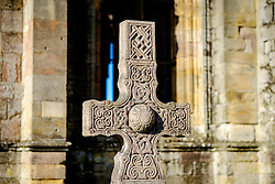 Celtic Cross gravestone at Melrose Abbey, Melrose. Scottish Borders<br /> <br /> (c) Andrew Wilson | Edinburgh Elite media