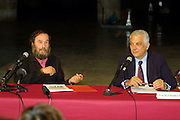 VENICE, ITALY..49th Biennale of Venice.Press Conference at Teatro alle Tese..Harald Szeemann, Curator (l.) and Paolo Baratta, President of the Biennale..(Photo by Heimo Aga)