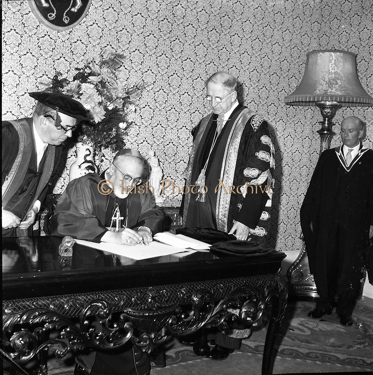 23/ 06/1961.06/23/1961.23 June 1961.Patrician Year celebrations: Cardinal Legate Grégoire-Pierre Agagianian recieves degrees at Dublin Castle.