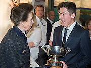 HRH Princess Anne attends the show with her husband.  They make a tour of the show which includes awarding the Yachtmaster of the Year award to George Gillingham (pictured), on the RYA stand, as well as meeting Sir Ben Ainslie, on his BAR stand. The CWM FX London Boat Show, taking place 09-18 January 2015 at the ExCel Centre, Docklands, London. 09 Jan 2015.