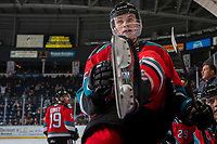 KELOWNA, BC - NOVEMBER 20: Kaedan Korczak #6 of the Kelowna Rockets climbs over the boards to the ice against the Victoria Royals at Prospera Place on November 20, 2019 in Kelowna, Canada. Korczak was selected in the 2019 NHL entry draft by the Las Vegas Golden Knights. (Photo by Marissa Baecker/Shoot the Breeze)