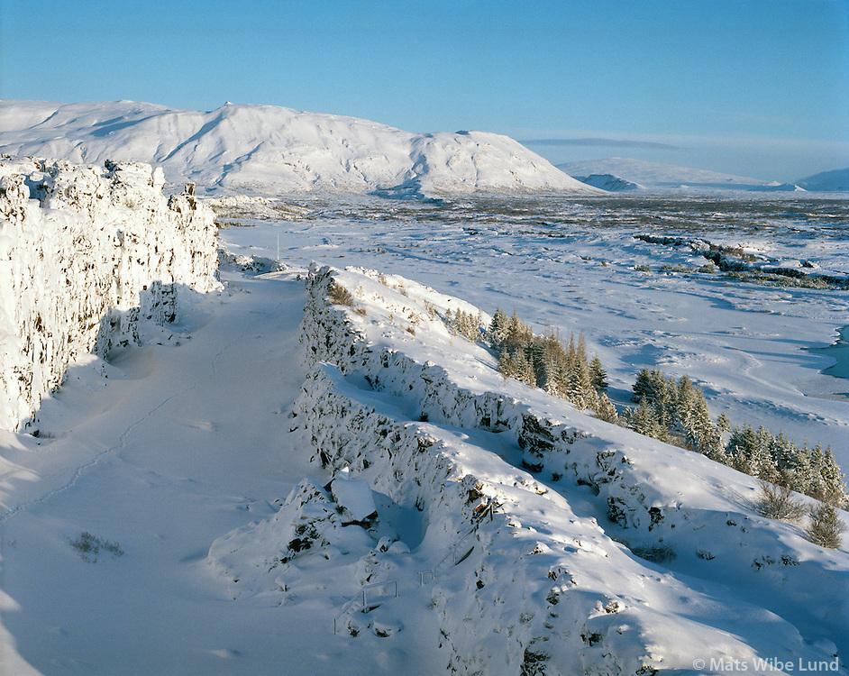 Almannagjá, Þingvellir, séð til norðurs, Bláskógabyggð áður Þingvallahreppur /  Almannagja earthquake rift, Thingvellir viewing north, Blaskogabyggd former Thingvallahreppur