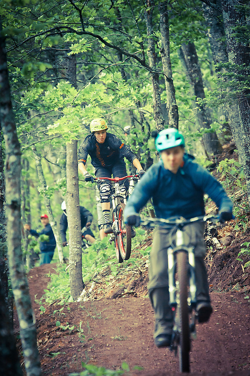Professional mountain biker Tammy Donahugh rides the Flying Squirrel trail in Copper Harbor Michigan.