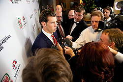 CARDIFF, WALES - Monday, October 6, 2014: Wales' Gareth Bale speaks to the media at the FAW Footballer of the Year Awards 2014 held at the St. David's Hotel. (Pic by David Rawcliffe/Propaganda)