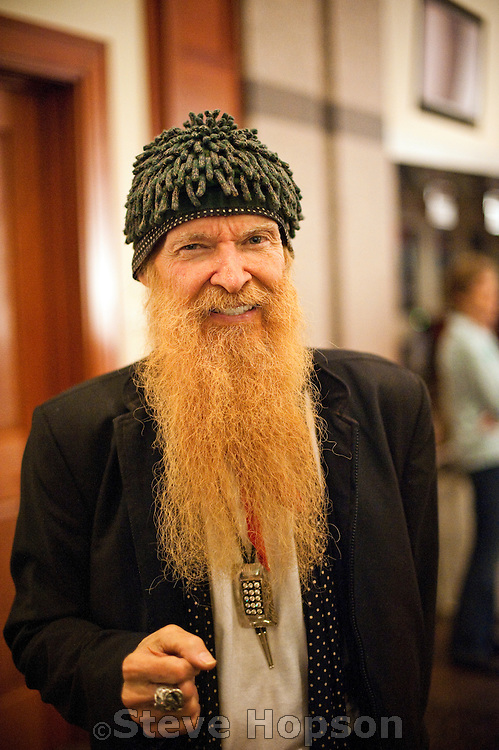 Billy Gibbons at the Bob Bullock Texas State History Museum for the opening of the Texas Music Roadtrip exhibit, South by Southwest Music Festival 2012, Austin Texas, March 16, 2012.