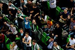 Fans of Olimpija during second semi-final match of Basketball NLB League at Final four tournament between KK Union Olimpija and Krka (SLO), on April 19, 2011 in Arena Stozice, Ljubljana, Slovenia. Union Olimpija defeated Krka 67-57. (Photo By Vid Ponikvar / Sportida.com)