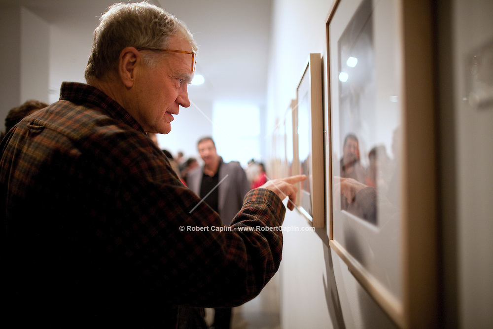 "David Letterman at his staff's holiday party and photo gallery exhibition by his staff writer Steve Young entitled ""CELEBRIGUM"" held at Ameringer McEnery Yohe Gallery  in New York. ..Photo by Robert Caplin."