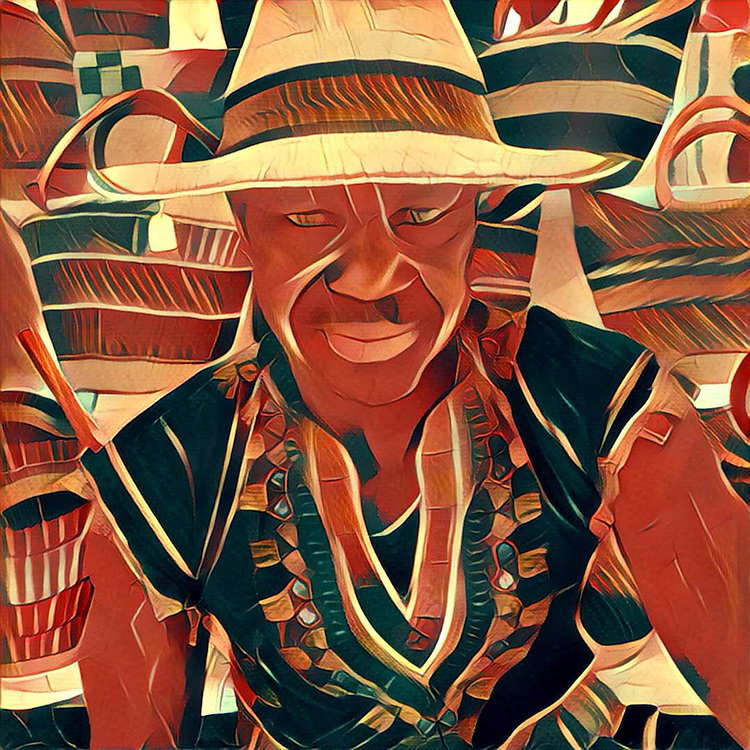 Prisma rendition of Sia and his baskets at the Calistoga Saturday Market