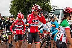 Riders of Lotto Soudal Ladies walking to podium for the sign-on at the Holland Ladies Tour, Zeddam, Gelderland, The Netherlands, 1 September 2015.<br /> Photo: Pim Nijland / PelotonPhotos.com