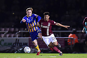 Shrewsbury Town midfielder Jon Nolan (20) battles for possession  with Northampton Town midfielder (on loan from Legia Warsaw) Hildeberto Pereira (28)  during the EFL Sky Bet League 1 match between Northampton Town and Shrewsbury Town at Sixfields Stadium, Northampton, England on 20 March 2018. Picture by Dennis Goodwin.