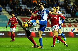 Will Grigg of Wigan Athletic shoots at goal - Mandatory by-line: Robbie Stephenson/JMP - 29/12/2017 - FOOTBALL - DW Stadium - Wigan, England - Wigan Athletic v Charlton Athletic - Sky Bet League One