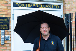 Managing Director XXXX of Fox Umbrellas Limited. Craftspeople at Fox Umbrellas Ltd, a company in Croydon, Surrey, that has been going for over 150 years hand build quality umbrellas. Croydon, Surrey, March 06 2019.