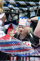BAR HARBOR, MAINE, July 4, 2014. Young float riders in the Independence Day Parade