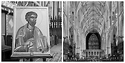 Left- St Peter holding the crossed keys to heaven. <br />