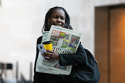 © Licensed to London News Pictures. 21/10/2018. London, UK. President of the National Union of Students (NUS) Shakira Martin arriving at BBC Broadcasting House to appear on The Andrew Marr Show this morning. Photo credit : Tom Nicholson/LNP