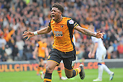 Hull City striker Chuba Akpom (19) celebrates Hull City midfielder Tom Huddlestone (8) scoring goal to go 2-1 up  during the Sky Bet Championship match between Hull City and Leeds United at the KC Stadium, Kingston upon Hull, England on 23 April 2016. Photo by Ian Lyall.