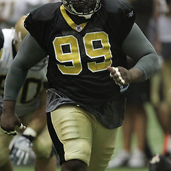 August 5, 2011; Metairie, LA, USA; New Orleans Saints defensive tackle Aubrayo Franklin (99) during training camp practice at the New Orleans Saints practice facility. Mandatory Credit: Derick E. Hingle