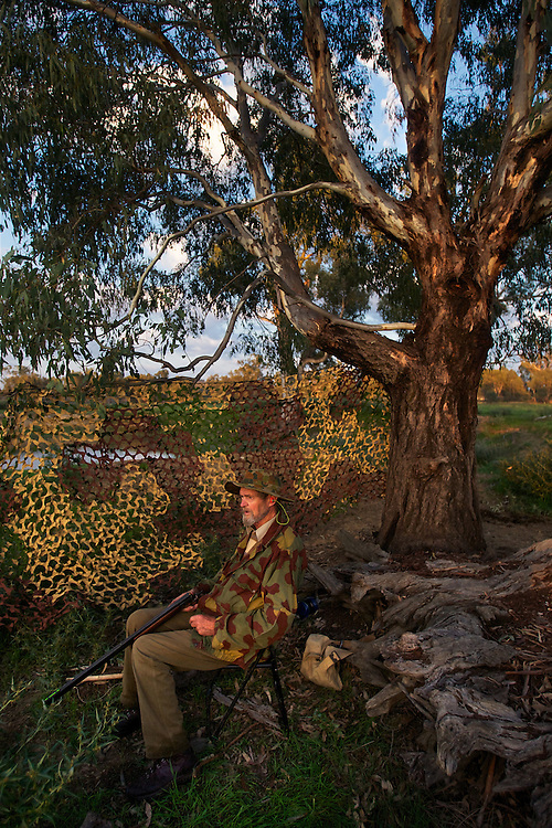 Lionel Swift. Opening of duck hunting season on the Murray Rive near Howlong. Pic By Craig Sillitoe CSZ/The Sunday Age. 19/3/2011 melbourne photographers, commercial photographers, industrial photographers, corporate photographer, architectural photographers, This photograph can be used for non commercial uses with attribution. Credit: Craig Sillitoe Photography / http://www.csillitoe.com<br />