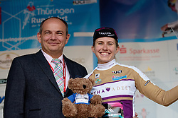 Best young rider, Alexis Ryan (CANYON//SRAM Racing) at Thüringen Rundfarht 2016 - Stage 1 a 67km road race starting and finishing in Gotha, Germany on 15th July 2016.