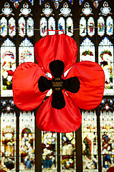 © Licensed to London News Pictures. 9/10/2018. Warwick, UK. Poppy display. Sixty two thousand, four hundred and thirty eight poppies have been assembled in St Mary's  church Warwick to commemorate the ending of the first World War. The poppies have been produced by local people, groups and school children with six hundred and ten alone covering the bell near the altar. As well as red poppies there are differing colours to signify conscious objectors, animals and pigeons killed in the Great War. Pictured, the large poppy in front of the Altar. Photo credit: Dave Warren/LNP