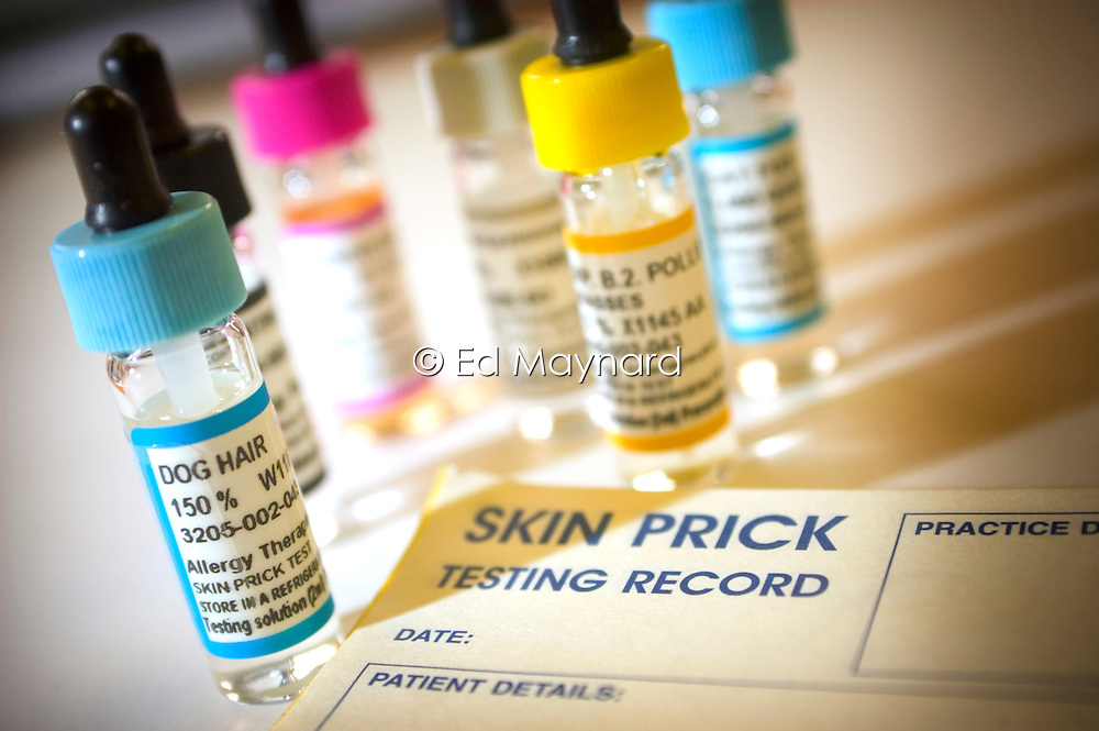 Skin prick test solutions at the National Respiratory Training Centre, Warwick, England, United Kingdom.