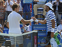 Tennis - 2017 Aegon Championships [Queen's Club Championship] - Day Two, Monday<br /> <br /> Men's Singles, Round of 32<br /> Feliciano Lopez [Spain] vs. Stan Wawrinka [Sui]<br /> <br /> Feliciano Lopez shakes the hand of Stan Wawrinka after winning his match on Centre Court <br /> <br /> COLORSPORT/ANDREW COWIE