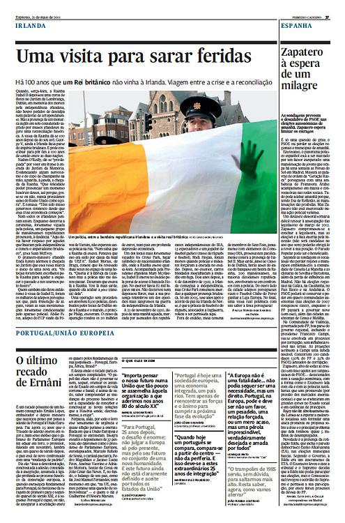 "Tearsheet (Feature story) of ""Ireland: Uma visita para sarar feridas"" published in Expresso"