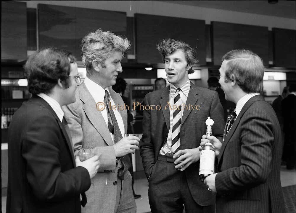 Leopardstown Reception - Whiskey 03/06/1976  06/03/1976.3rd June 1976.Hedges & Butler Ireland Ltd., reception for Bell's Whiskey at Leopardstown..Pictured L-R, Mr. Padar McCormack, (Kelly and Company), Mr. Maurice Kelly, (Kelly and Company), Mr. David Millard, (Millard & Co.), and Mr. G.R. Newbold, (Bells)