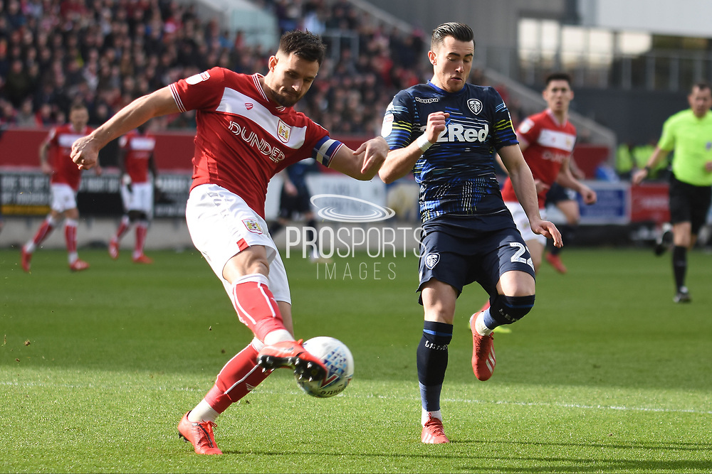 Leeds United midfielder Jack Harrison (22) closes down  Bristol City defender Bailey Wright (5) during the EFL Sky Bet Championship match between Bristol City and Leeds United at Ashton Gate, Bristol, England on 9 March 2019.