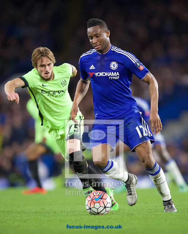 Mikel John Obi of Chelsea and Aleix Garcia of Manchester City during the FA Cup match at Stamford Bridge, London<br /> Picture by Alan Stanford/Focus Images Ltd +44 7915 056117<br /> 21/02/2016