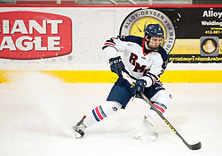 March 12 2016: Robert Morris Colonials defenseman Alex Bontje (2) stops while handling the puck during the second period in game two of the Atlantic Hockey quarterfinals series between the Bentley Falcons and the Robert Morris Colonials at the 84 Lumber Arena in Neville Island, Pennsylvania (Photo by Justin Berl)