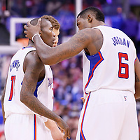 23 November 2013: Los Angeles Clippers center DeAndre Jordan (6) congratulates Los Angeles Clippers shooting guard Jamal Crawford (11) during the Los Angeles Clippers 103-102 victory over the Sacramento Kings at the Staples Center, Los Angeles, California, USA.