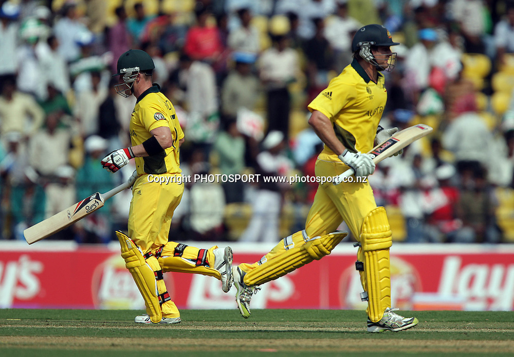 Brad Haddin and Shane Watson. ICC Cricket World Cup. New Zealand Black Caps v Australia at the Vidarbha Cricket Association Ground. Friday February 25, 2011. Nagpur, India. Photo: photosport.co.nz