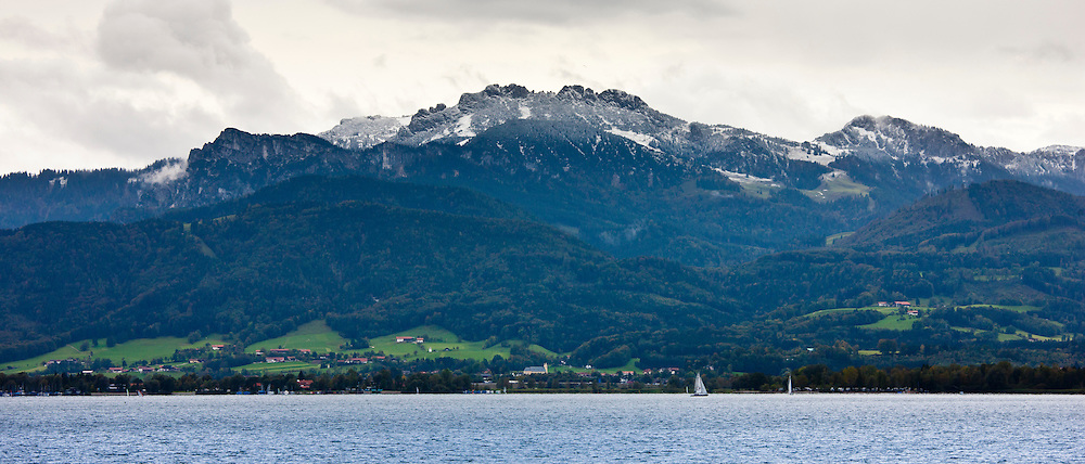 Chiemsee Lake and Bavarian Alps in Baden-Wurttenberg, Bavaria, Germany
