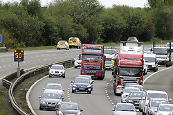 © Licensed to London News Pictures. 15/05/2013.A pedestrian has died after being hit by a lorry on the M25 this morning (15.05.2013)..The victim was hit by the vehicle on the clockwise stretch of the motorway between Junction 3 M20/A20 (Swanley Interchange) and Junction 4 A21/ A224 (Orpington) at about 3.30am.He has not been identified but is believed to have come from Kent.Accident investigation work is taking place at the scene of the crash and around six police vehicles remain at the scene..The road has been closed since then and is not expected to reopen until midday at the earliest...Photo credit :Grant Falvey/LNP
