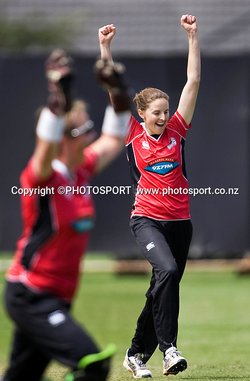 Canterbury Magicians bowler Amy Satterthwaite celebrates getting thw second wicket. Womens 1-Day, Canterbury Magicians v Central Hinds, Redwood Park, Christchurch, Saturday 12 December 2009. Photo : Joseph Johnson/PHOTOSPORT