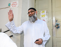 © Licensed to London News Pictures. 19/10/2018. London, UK. Radical preacher ANJEM CHOUDARY is seen at a bail hostel after being released form Belmarsh Prison in south-east London. Photo credit: Ben Cawthra/LNP