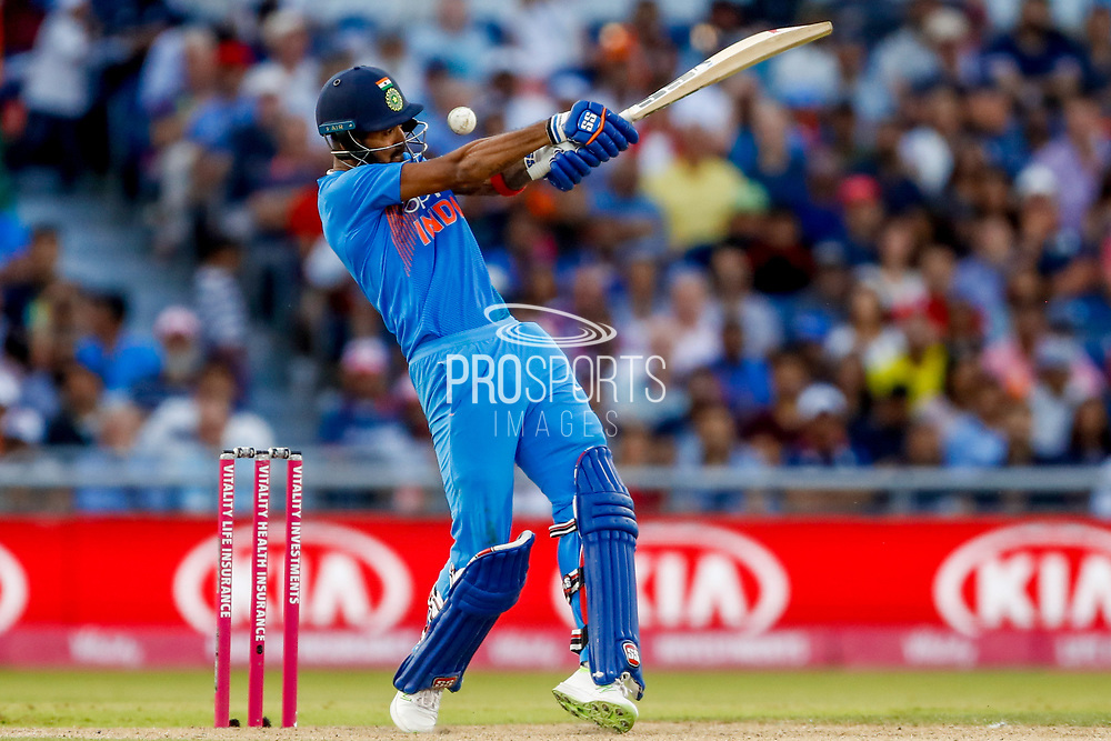 England T20  think they have India T20 all rounder KL Lokesh Rahul caught behind and review it unsuccessfully  during the International T20 match between England and India at Old Trafford, Manchester, England on 3 July 2018. Picture by Simon Davies.