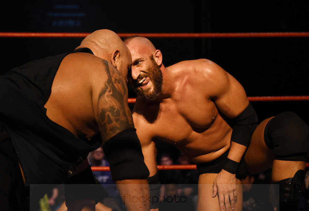 "Tommaso Ciampa faces off against his ""Da Hit Squad"" opponent at the Beyond Wrestling Organization's ""Dream Left Behind"" event, held at the Center for Arts at the Armory in Somerville, Sunday, Jan. 31, 2016."