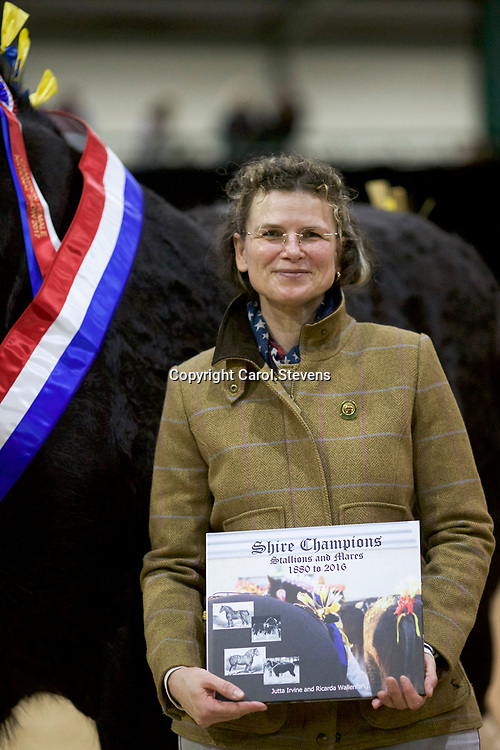 Ricarda Wallenfang presenting her &amp; Dr J Irvine's book to the breeder of the Champion Mare - Mr W A King's COTEBROOK LOCH ANNA  (No. 126)   Foaled 2014<br />