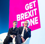 Conservative Party Conference at Manchester Central, Manchester, Great Britain <br /> 29th September 2019<br /> <br /> Day 1 <br /> <br /> Jacob Rees-Mogg MP <br /> Leader of the House of Commons <br /> <br /> And <br /> <br /> Michael Gove MP <br /> Chancellor of the Duchy of Lancaster<br /> <br /> As they watch Steve Barclay speech <br /> <br /> <br /> Photograph by Elliott Franks