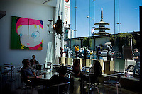 A view of the Japan Center Peace Pagoda in Japantown from the cafe at New People, a five-story, glass-walled retail building that holds a cafe, movie theater, five shops and a gallery, in San Francisco, Ca., on Saturday, May 29, 2010.